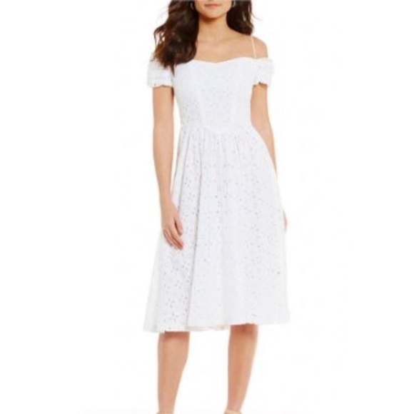 LF Dresses & Skirts - Womens LF Leslie Fay Off the Shoulder Eyelet Dress